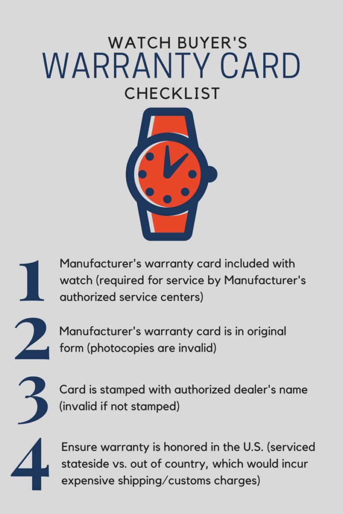 Warranty card checklist